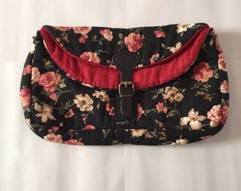 quilted fabric clutch / roses print shabby foldover clutch / leather buckle strap purse