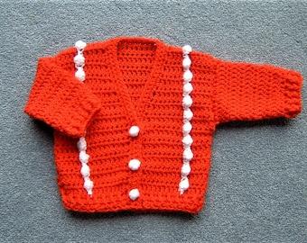 Red/white baby v neck cardigan (ref 010)
