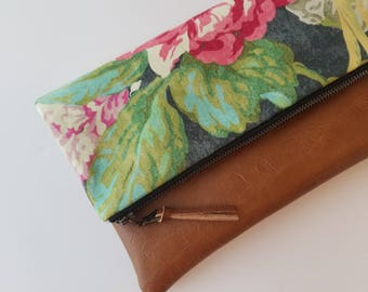 Floral Foldover Clutch, Vegan Leather Clutch Bag, Modern Black Clutch Purse, Ipad Kindle Case, Spring Clutch, Bridesmaid Gift, Gift for Her