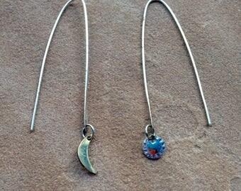 Sun and moon long dangle earrings