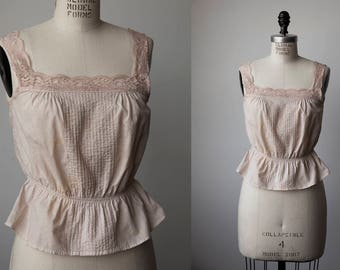Vtg Edwardian Inspired Cotton Top Blouse Bodice Corset Cover Lace Tank Nude Tea Dyed 90s S