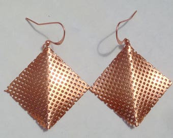 ORIGAMI Mesh COPPER EARRINGS -  The First Fold - New Beginnings -