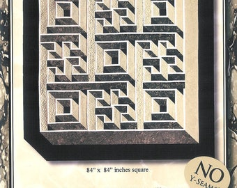 Labyrinth Walk Quilt Pattern No Y Seam 2 blocks 4 Contrasting Fabrics Preorder