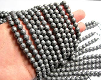 Hematite matte - 8mm faceted round beads -1 full strand - 50 beads - AA quality - Matte - RFG1362