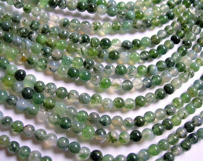 Moss agate - 4.5mm round beads - full strand - A quality - 85 beads - RFG1347