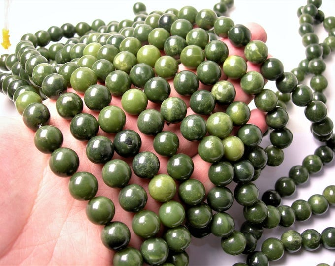 Jade 12mm round - A quality 33 beads - full strand - Green jade - RFG1453
