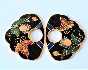 Pair Vintage Cloisonne Pendants... For Repurpose... Flower & Butterfly