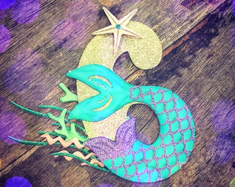 Mermaid tail number cake topper. Under the Sea Birthday Cake Topper. Mermaid Cake Topper. One Birthday, Under the Sea Cake Topper