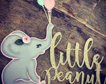 Pink or Blue Little Peanut Cake Topper. Elephant cake topper. Baby Shower Cake Topper. First Birthday Topper
