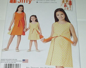 Simplicity Jiffy Sewing Pattern Girls Size 3 4 5 6 Reversible Wrap Dress 8104 DIY Home Sewing Crafting Retro Fashion