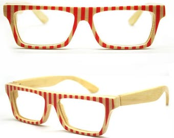 20% off SUMMER SALE World's First Bamboo  Red Stripes Takemoto  Love-color Handmade  Glasses