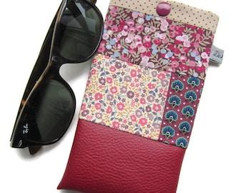 Liberty sunglasses, wallet, Burgundy faux case