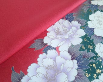 Japanese pure silk cloth from Kyoto Pink Floral pattern No.46-10