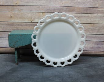 Vintage Milk Glass Platter With Lace Edge, Milk Glass Cake Plate