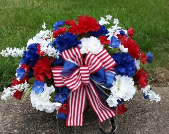 Patriotic Cemetery Headstone Saddle
