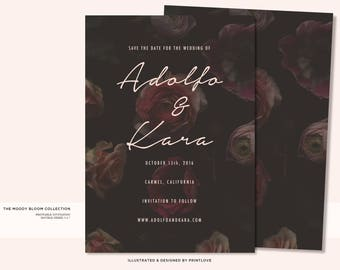 Floral Invitation | Floral Save the Date | Printable Save the Date | THE MOODY BLOOMS Collection | Printable Invitation