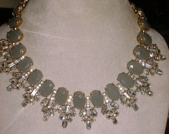 Goddess Necklace Rhinestones and Celadon Jade