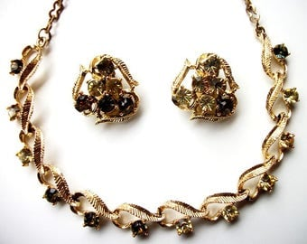 Gold with Smokey Aurora Borealis Rhinestone Choker Necklace & Clip on Cluster Earrings Vintage Costume Jewelry Set