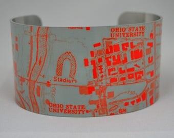 Ohio State University  Columbus Ohio Map Cuff Bracelet