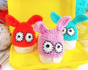 Easter Bunny egg warmer, Funny kitchen decor, Eggs hat cozy crochet, Rabbit lovers, Kawaii amigurumi, Cute gift animals collection