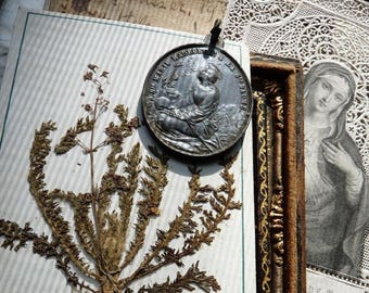 Antique French Mary Magdalene Medal & Holy Card, A Sainte Baume Talisman for the Alchemist, offered by RusticGypsyCreations