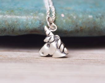 Unicorn sterling silver necklace unicorn charm necklace - gift for girl