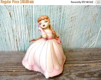 Yearly Big Sale: Porcelain Bisque Holland Mold Girl in a Pink Dress with Flower, Southern Belle Cotillion, Strawberry Blond Pigtails