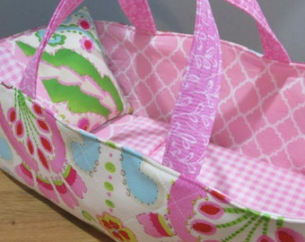 Doll Carrier,  Pink Modern Print with Pink Lining, 14 Inches Long, Doll Basket