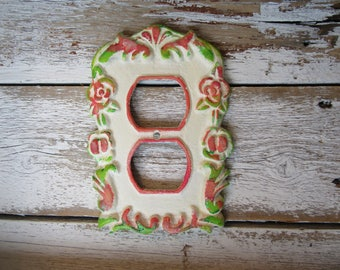 Pink Green Winter White Floral Outlet Cover Flower Style Decorative Cast Iron Outlet Cover with Matching Screw Greens and Pinks H-6