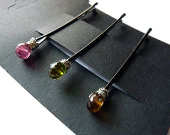 Tourmaline Trio Bobby Pin - Pink, Green, Brown - Gemstone Bobby Pin