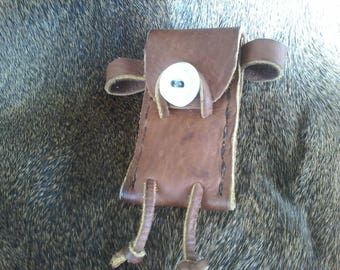 Leather Pocket Knife Pouch with Antler Closure