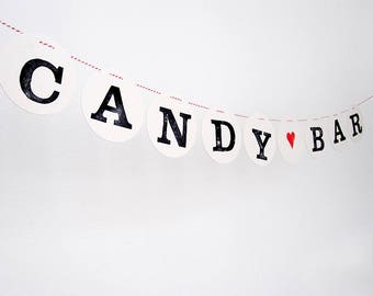 CANDY BAR banner // Wedding banner, decoration, Sweet table bunting for Wedding by renna deluxe