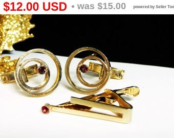 Spring Fling Sale Circle Cufflinks & Tie Bar - Matching Set with Red Rhinestones - Mens Jewelry - Vintage Accessories and Gifts for Him