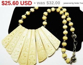 "White Bone Bib Necklace - Beaded 18"" - Bone White & Silver - Carved Choker - Tribal Design - Vintage Boho - 1980's - 1990's"