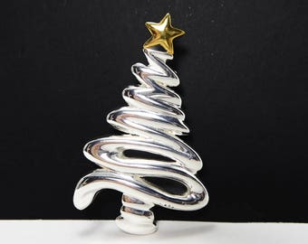 Silver Tone Swirl Christmas Tree Brooch, Gold Tone Star Tree Topper,  Vintage 1980s 1990s