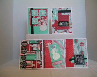Handmade Christmas Cards, Christmas Card Assortment, Holiday Greeting Cards, Set of 5 Holiday Cards, Red/Teal Christmas Cards