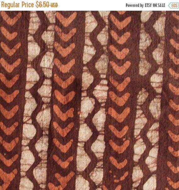 ON SALE Cotton Fabric Print - Brown And Light Orange Geometric Batik Print 1 Yard - ctsm014