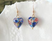 Boucles d'oreilles verre de Murano vert petit coeur