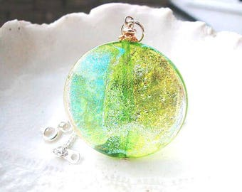 Green Murano Dichroic Venetian  Glass Necklace