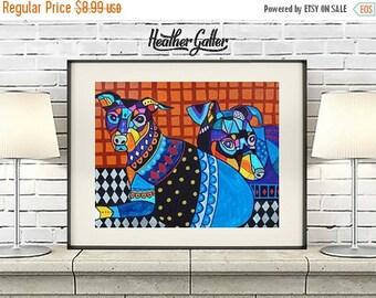 50% Today ONLY- DIGITAL Print File - Miniature Pinscher Art - Min Pin art dog  Art Print Poster by Heather Galler (HG678)