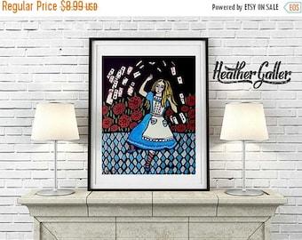 50% Today ONLY- DIGITAL Print File - Alice In Wonderland Folk Art Wall Art Decor, Instant Art Print, Printable Digital Instant Download, Nur