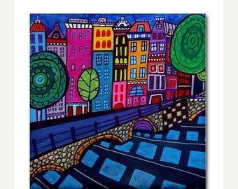 45% Off Today- Amsterdam art Tile Ceramic Coaster City Skyline Folk Art Print of painting by Heather Galler (HG128)