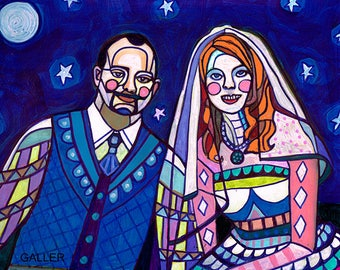 Custom Original Wedding Portrait Folk Art Painting by Heather Galler OOAK Signed Personalized Anniversary Christmas Gift