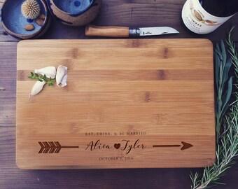 Personalized Gift, Wedding Cutting Board, Wood Cutting Board, Chopping Block, Arrows, Arrow Design, Unique Wedding Gift, Housewarming Gift