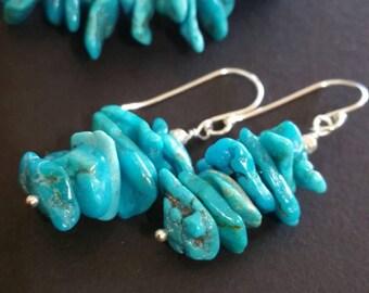 Blue Ridge Turquoise Gemstone   Cluster Sterling silver Earrings