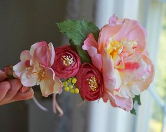 Flower Crown, Pink Flower Crown, Boho Wedding, Boho, Floral Crown, Flower Head Piece, Flower Hair Accessory, Wedding Crown, half crown, Silk