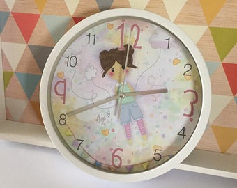 Illustrated wall clock * Lou in the clouds *.
