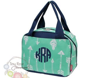 Monogrammed Lunch Tote - Personalized Lunch Bag -Mint Arrow