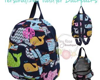 Toddler Girl Backpack - Whale Booksack - Personalized School Bag, Book Bag, Mini Backpack