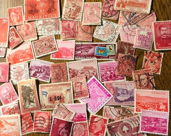 50 RED Used World Postage Stamps for crafting, collage, cards, altered art, scrapbooks, decoupage, history, collecting, philately 11d